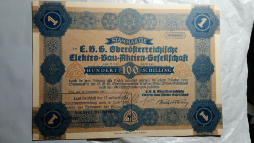 Austria 1937 Elektro-Bau-Aktien-Gesellschaft 100 Chelín Bond Cert Común