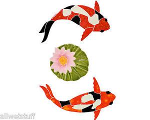 Mosaic-Koi-Fish-amp-Lily-Pad-Swimming-Pool-wall-patio-walk-drive-way-table-top-bar