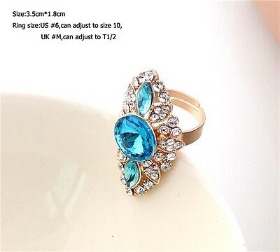 Hot Charm New Fashion Crystal Nice Rhinestone Gold Wrap Finger Ring Size #6-10