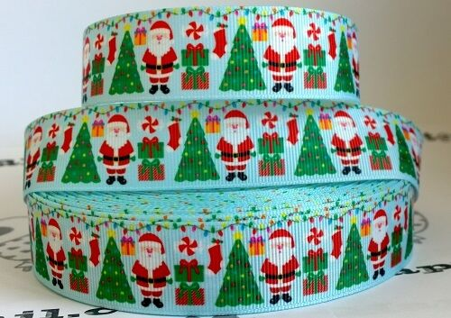 """✜ 1m CHRISTMAS GROSGRAIN RIBBON 7//8/"""" 22mm Cake Bow Hair Gift Wrapping Present ✜"""