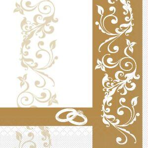 Serviette-Hochzeit-in-Gold-aus-Tissue-33-x-33-cm-100-Stueck