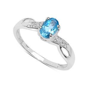 9ct-Weissgold-Blau-Topas-amp-Diamant-Verlobungsring-Groesse-I-T