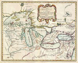 MAP-ANTIQUE-BELLIN-1755-NEW-FRANCE-GREAT-LAKES-LARGE-REPRO-POSTER-PRINT-PAM0554