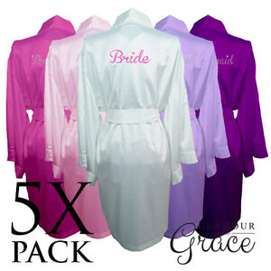 641de5fc5 Image is loading 5-PACK-Bridal-Wedding-Bride-Bridesmaid-Dressing-Gowns-