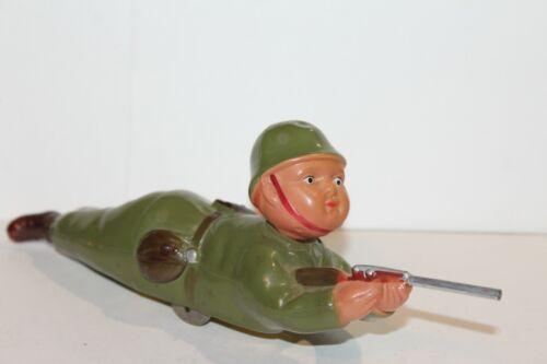 Schön Zelluloid Aufziehen Sharp Shooter Krabbeln Soldat Hergestellt In Blechspielzeug