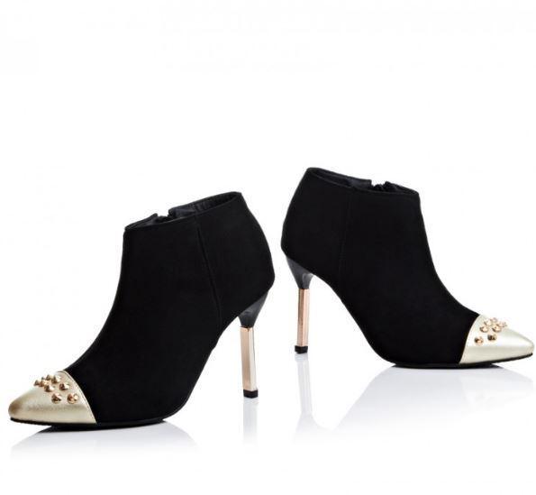 stivali stivaletti invernali scarpe stiletto simil pelle 9 cm nero eleganti 9369