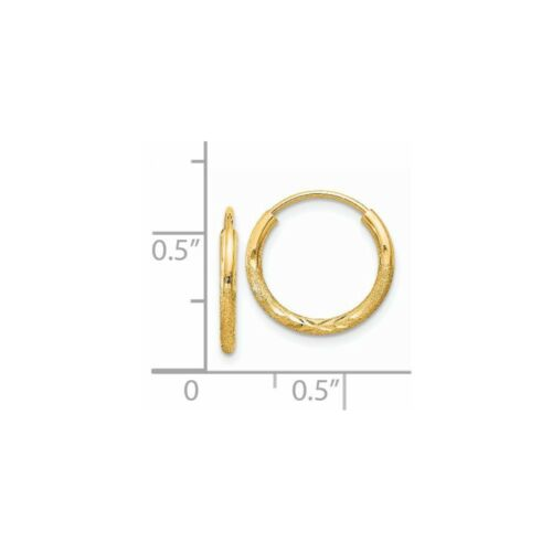14kt Yellow Gold 1.5mm Satin Diamond-cut Endless Hoop Earrings