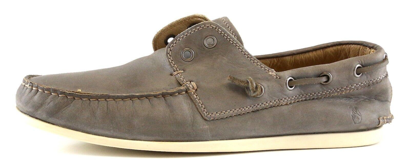 John Varvatos Star USA Slip On Leather Boat shoes Grey Men Sz 8.5 M 4641