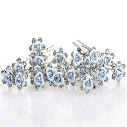 20//40Pcs Flower Wedding Hair Pins Crystal Pearl Clip Headwear Jewelry Decor