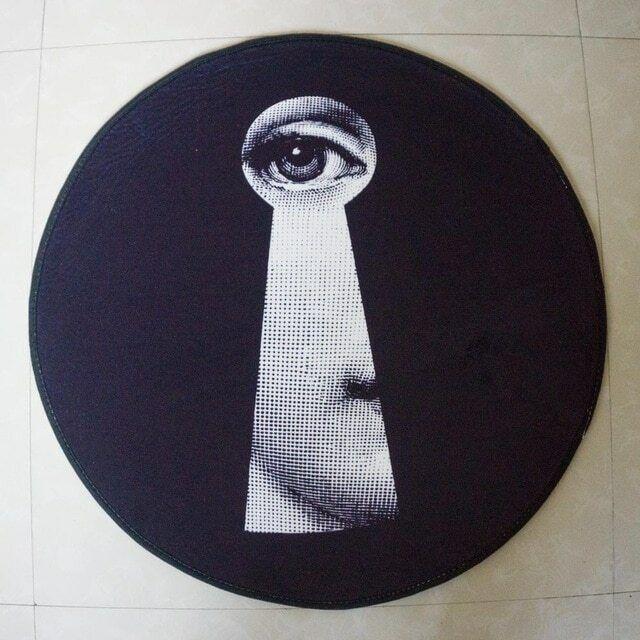 Luxury Tondo Circolare Tappeto Tappeto Tappetino buco della serratura TEMA. nero & bianca