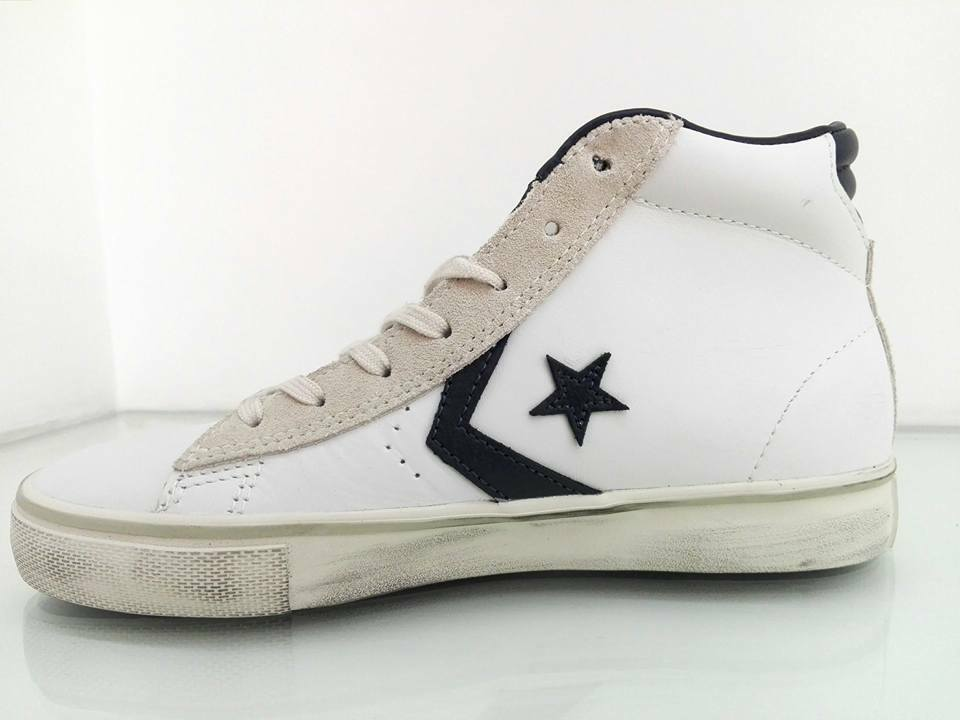 Converse Pro Leather Vulc Mid Bianco blue