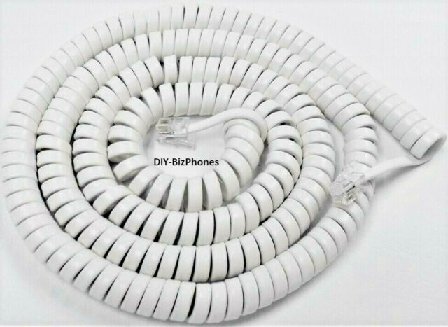 Generic Bright White 25 Ft Phone Handset Cord LONG Coil Wall New In Factory Bag