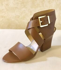 c5f8d4437845 Women Michael Kors Adriana Mid Heel Buckle Up Sandal Leather Luggage ...