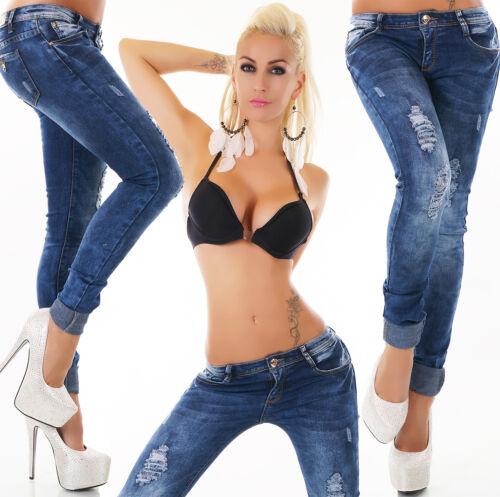 JEANS da donna jeans a sigaretta hüftjeans Pantaloni DARK BLUE slavati o tg 34 36 38 40 42
