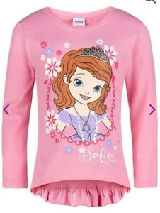 Sofia-The-First-Cute-Pink-Long-sleeve-Top-With-Frilly-Back-Age-7-8-Yrs-Bnwt