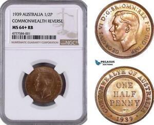 AE941 Australia George VI, Half Penny (1/2) 1939, Commonwealth Rev. NGC MS64+ RB