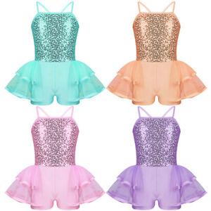 Image is loading Girls-Ballet-Dance-Dress-Sequins-Gymnastics-Leotard-Tutu- d796456f9234