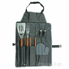 BBQ Tool Set in Cooking Apron Barbecue - Tongs Fork Spatula Wooden Handle Tools