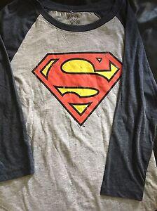 New-Ladies-Long-Sleeve-Superman-T-Shirt-Size-12