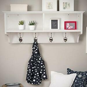 White Wall Mounted Coat Rack Wooden Storage Unit Shelf Hooks Stand