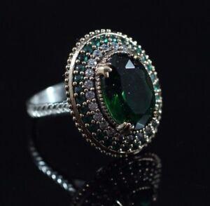 925-Sterling-Silver-Handmade-Gemstone-Turkish-Emerald-Ladies-Ring-Size-6-10