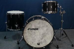 "Sonor SQ1 Shellset in ""GT Black""  -  24x14, 13x9"", 16x15"""