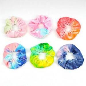 Soft-Rainbow-Velvet-Scrunchies-Tie-dye-Hair-Ring-Rubber-Band-Elastic-Hair-Rope