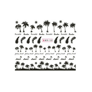 2-Sheet-Nail-Art-Water-Transfer-Sticker-Hawaii-Palm-Tree-Feather-Manicure-Decors