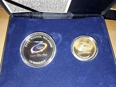 MALAYSIA 2016 50th FELCRA SILVER PROOF SET 2 COIN UNC