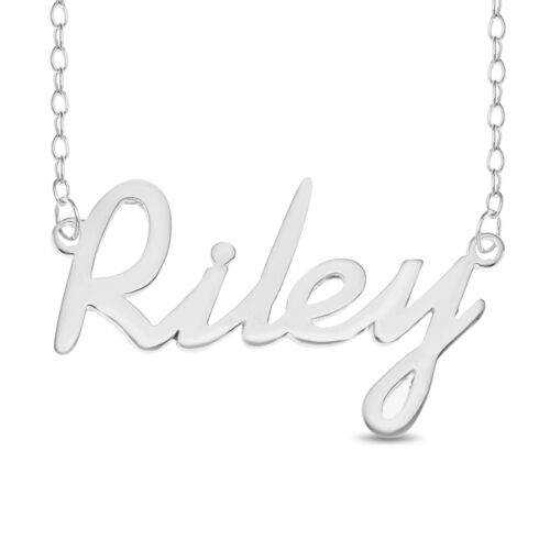 Riley Name Plate Necklace Pendent Sterling Silver chain Personalized Custom