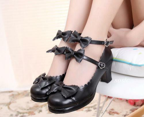 Dames Cos Block Lolita neusschoenen uk Jd Ankel Ronde Sweet Bowknot Pricess Strappy Yfv76gyb