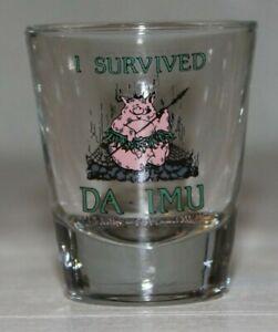 Vintage-Shot-Glass-I-Survived-Da-Imu-Paradise-Cove-Hawaii-Pig-in-Hula-Skirt