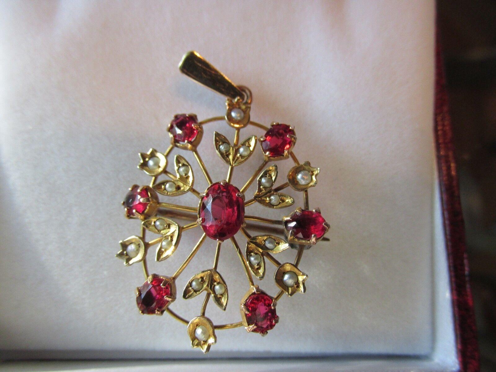 bbf8223947e8a Antique Victorian Pearl gold Yellow 9ct Lavaliere Pendant Pin Brooch ...