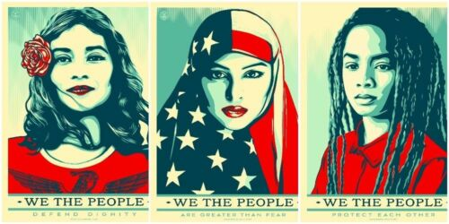 3 X A4 GLOSSY PHOTOS SHEPARD FAIREY WE THE PEOPLE USA WOMENS MARCH POSTER PRINTS