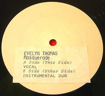 "Evelyn Thomas Masquerade 12"" WHITE LABEL PROMO 1984 Record Shack Hi-NRG VINYL"