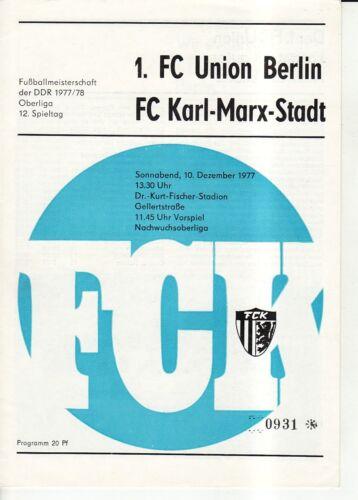 1 OL 77//78  FC Karl-Marx-Stadt FC Union Berlin
