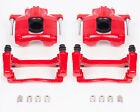 Disc Brake Caliper-Perf Red Powder Coated Calipers with Brackets Front S5044