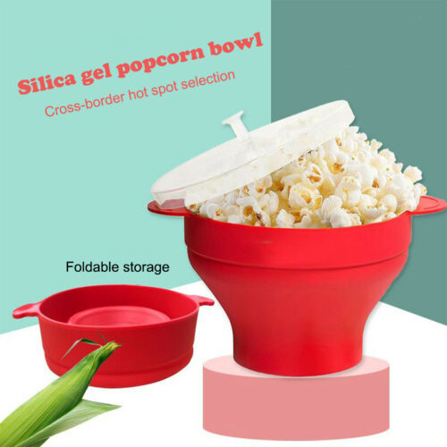Silicone Popcorn Maker Microwave Popcorn Bucket DIY Popcorn Maker with Lid