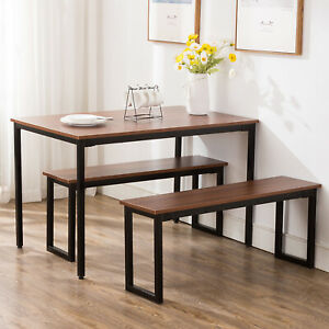 Retro-Dining-Set-Breakfast-Nook-Table-And-2-Benches-Rectangular-Kitchen-Room