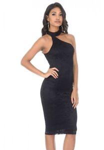 b30e1fc1121 Details about AX Paris Womens Lace Bodycon Midi Dress, One Shoulder Choker,  Black/Plum