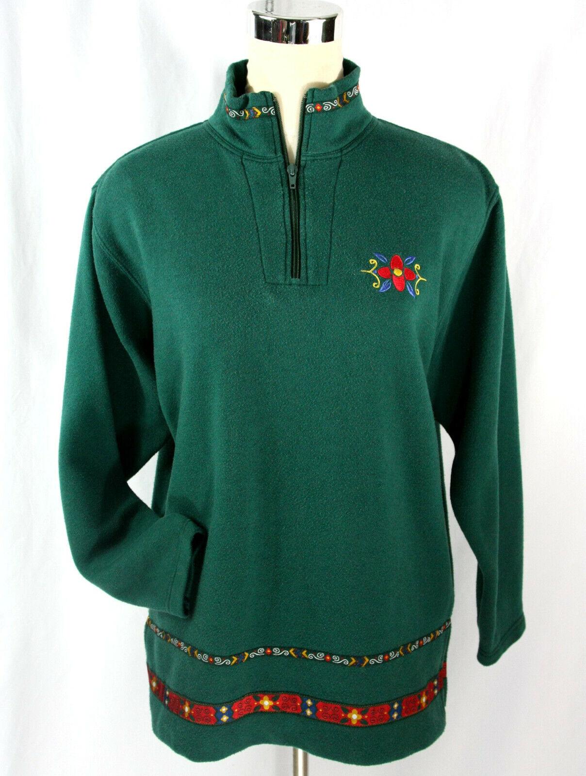 Vintage American Sportif High Neck Peasant Fleece Pullover Tunic - S 6-8 - Green