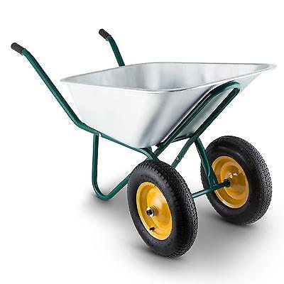 Brouette de jardin transport robuste capacité 120L 320KG 2 roues acier - vert