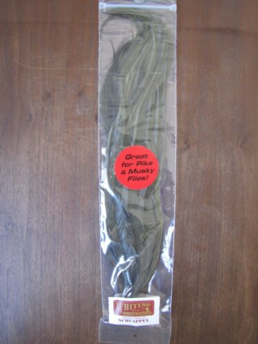 """Fly Tying-Whiting Schlappen Bundle 10-14/"""" White dyed Dark Olive"""
