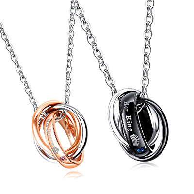 Global Jewelry Titanium Stainless Steel The ONLY Eternal Love Couple Pendant Necklace Matching Set Valentine Gift