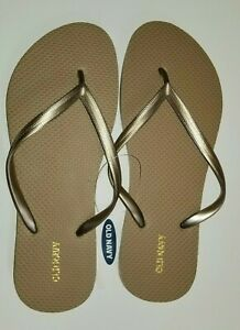 Women-039-s-Old-Navy-Flip-Flops-Size-9-Gold