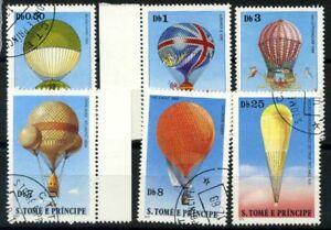 San-Tommaso-e-il-principe-Isole-1979-Mi-619-624-Usato-100-Mongolfiere-Aviaz