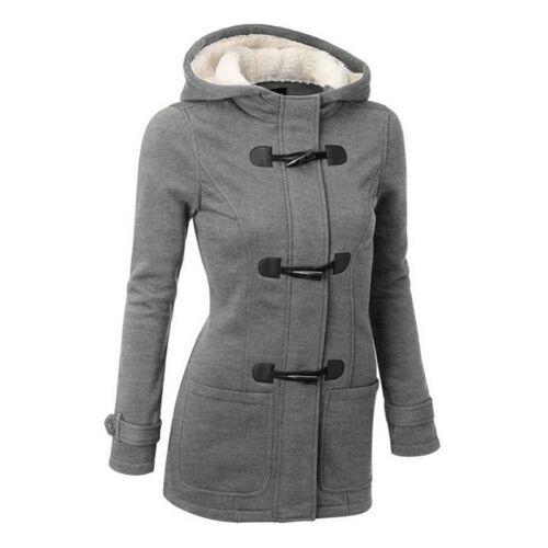 Plus Size Double-breasted Winter Coat Women Wool Jacket Hoody Parka Horn ButtonF