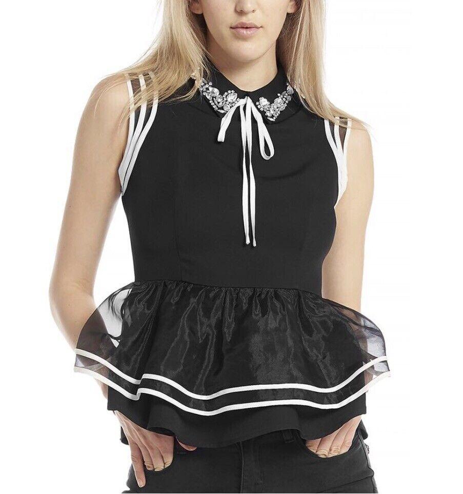 Gracia Sleeveless Paplum  Top With Rhinestone Collar Größe M  schwarz