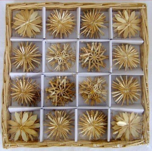 Paille étoiles boîte avec 56 st 4,5-6cm Goldfaden paille étoile de Noël