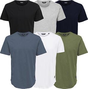 Only-amp-Sons-Men-039-s-Designer-Curved-Hem-Longline-T-Shirt-BNWT